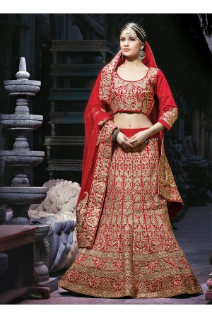 Decency Red Georgette Lehenga Choli