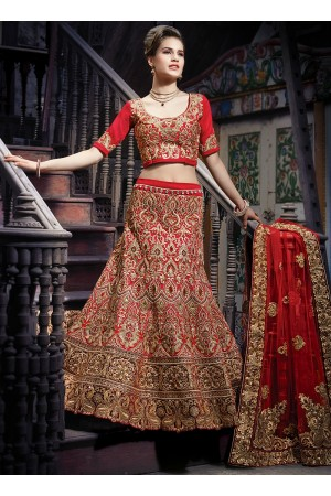 Decency Red Georgette Lehenga Cholis