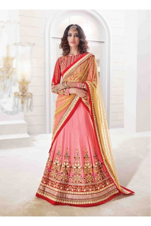 Aesthetic Cream and Pink Crystal Georgette Designer Wedding Lehenga choli