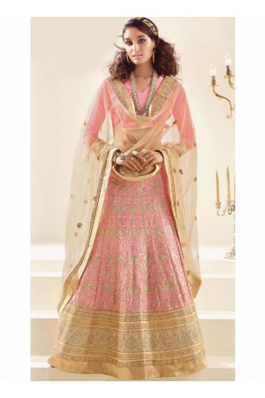 Alluring Peach Embroidered Art Silk Bridal Lehenga choli