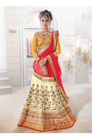 Wedding Cream and Red Bridal Lehenga choli