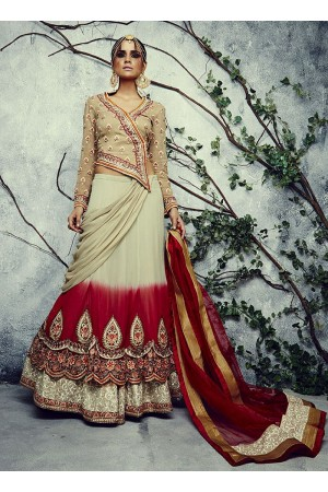 Dilettante Beige Shaded Net Lehenga Choli