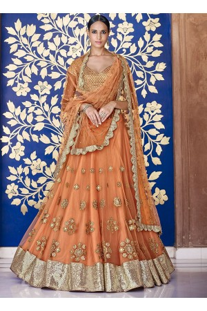 Immaculate Rust Net Lehenga Choli