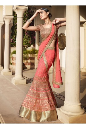 Masterly Peachish Pink Georgette Lehenga Choli
