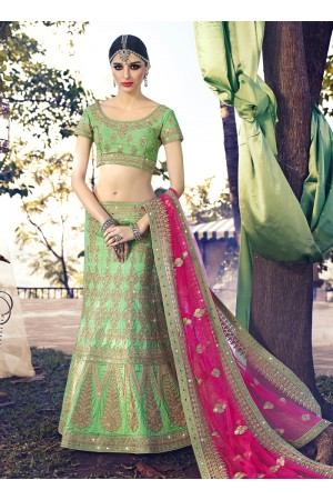 Angelic Net Green Zari Work A Line Lehenga Choli