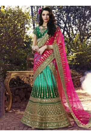 Hypnotic Art Silk Multi Colour Designer A Line Lehenga Choli