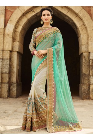 Pastel Green And Beige Net On Georgette Saree