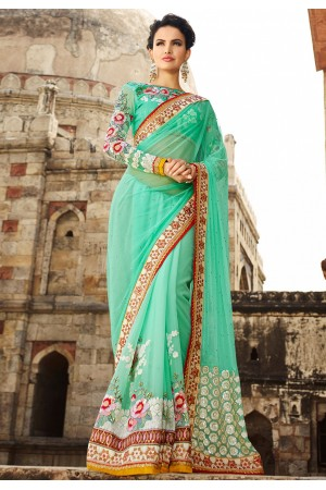 Turquoise Net On Georgette Saree