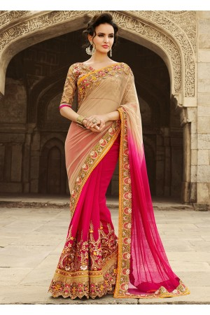 Pink And Beige Net On Georgette Saree