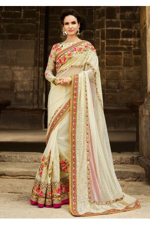 Cream Net On Georgette Saree