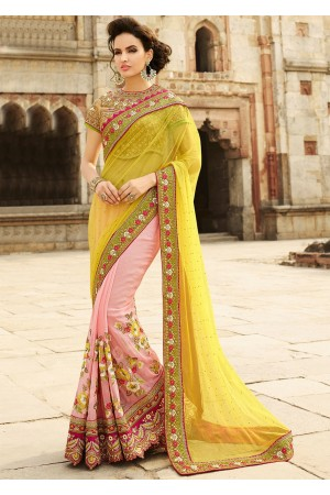Olive And Rose Net On Georgette Saree