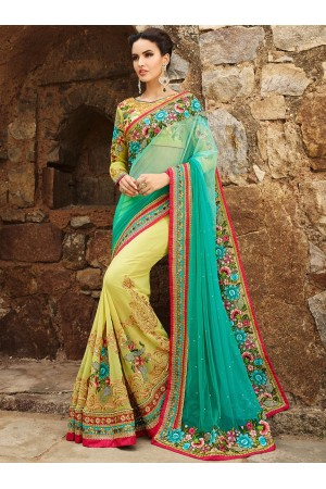 Teal Green And Ochre Net On Georgette Saree