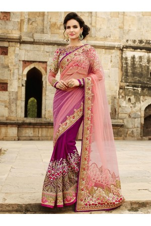 Rose And Magenta Net On Georgette Saree