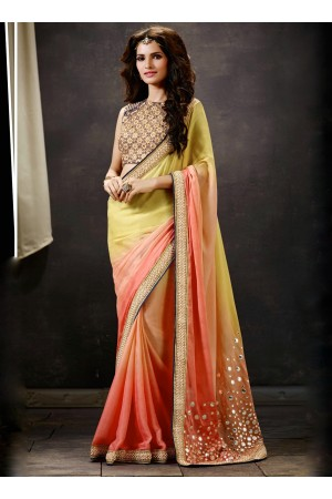 Peach And Yellow Art Silk Saree