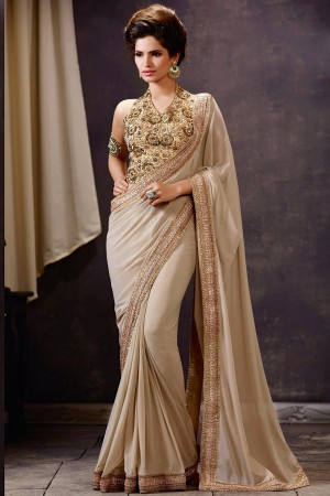Cream Net Saree With Art Silk Blouse