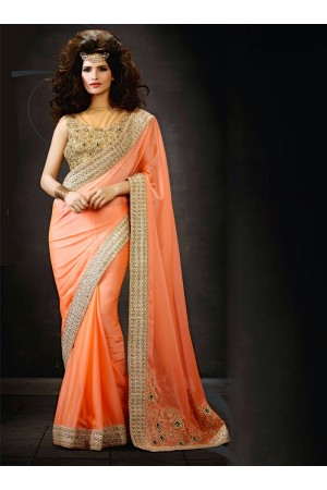 Orange Satin Chiffon Saree