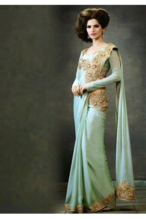 Sea Green Silk Crepe Saree