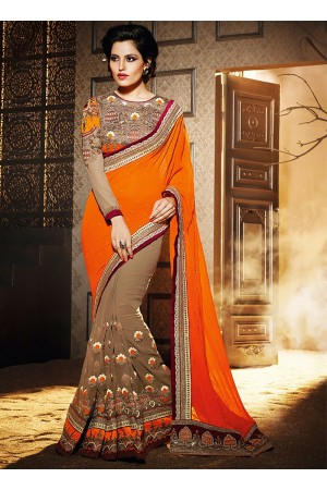 Beckoning Orange Georgette Saree
