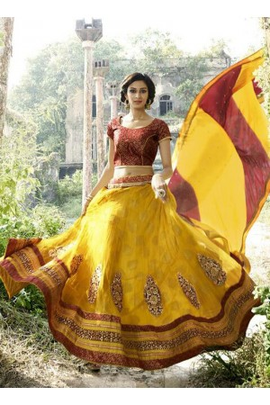 Energetic Net Yellow A Line Lehenga Choli
