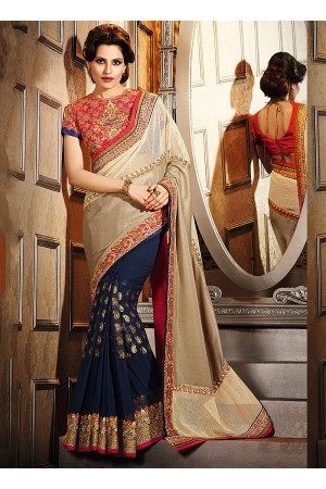 Exuberant Grey Smok Georgette Saree