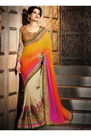Glossy Multi Color Georgette Saree