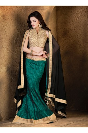 Latest Green Lace Work A Line Lehenga Choli