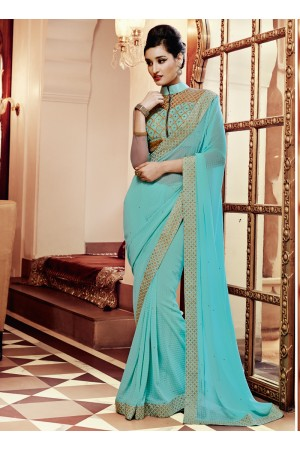 Lovable Embroidered Work Turquoise Designer Saree