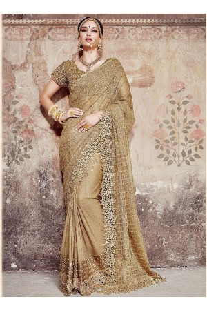 Mystical Cream Shimmer On Net Saree
