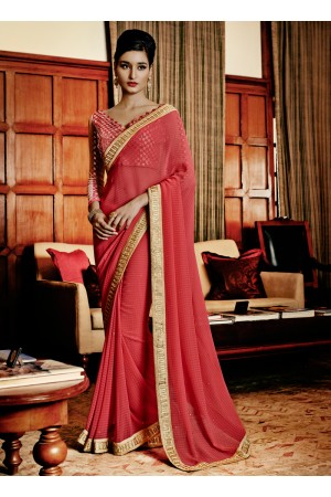 Pleasance Hot Pink Designer Saree