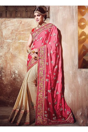 Prepossessing Hot Pink Satin Georgette Saree