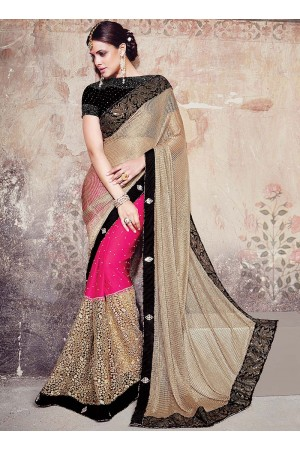 Pretty Cream Net Designer Saree
