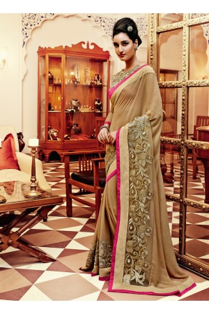 Striking Georgette Beige Lace Work Designer Saree