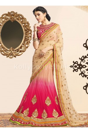 PASSION CREAM AND FUCHSIA COLOR WEDDING LEHENGA CHOLI