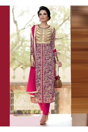 Amicability Beige Cotton Silk Pencil Style Churidar Suit