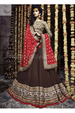Brown and red Wedding Wear Lehenga