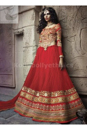 Traditional red designer Wedding Wear Lehenga