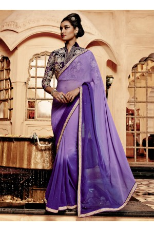Intrinsic Purple Resham Work Georgette Designer Saree