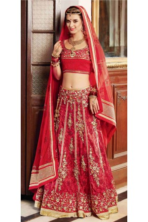 Eyeful Red Banarasi Silk Wedding Lehenga Choli