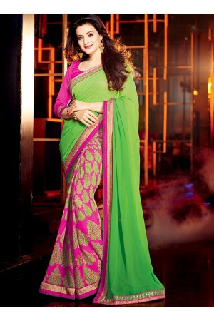 Ameesha Patel Light Green Georgette Saree