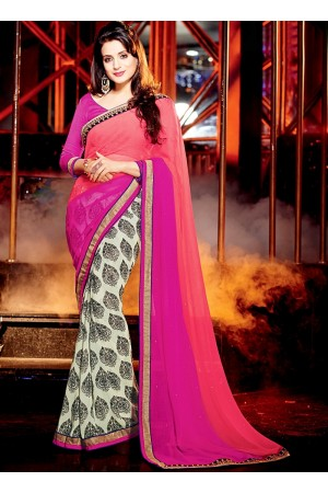 Ameesha Patel Multi Color Chiffon Georgette Saree