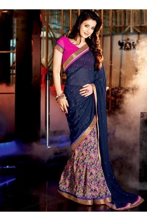 Ameesha Patel Navy Blue Georgette Sarees
