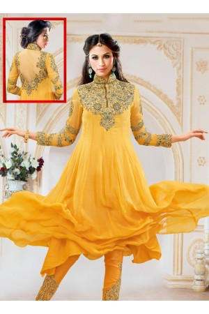 Pounce Gold Georgette Anarkali Suit