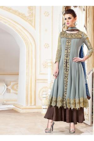 Pounce Grey Georgette Anarkali Suit
