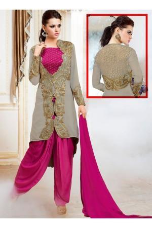 Pounce Grey Satin Dhoti Style Churidar Suit