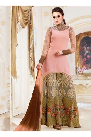 Pounce Peach Georgette Lehenga Style Churidar Suit