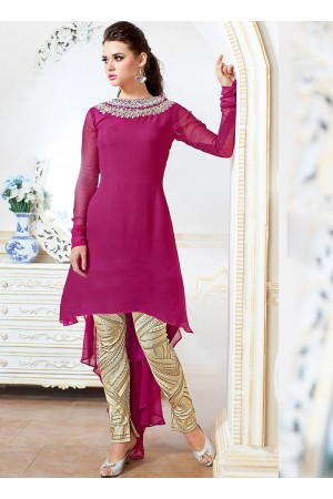 Pounce Pink Georgette Pencil Style Churidar Suit