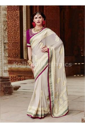 Plushy Off White Designer Saree