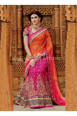 Brisk Hot Pink and Orange Net and Tussar Silk Wedding Lehenga Saree
