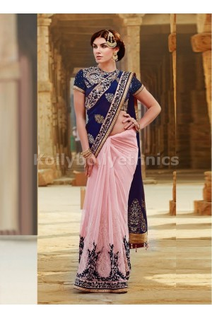 Net and Tussar Silk Navy Blue and Pink Designer Saree
