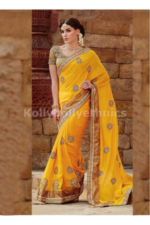 Vibrant Yellow Designer Saree